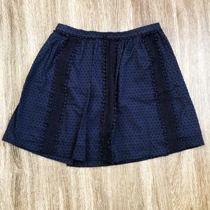 J. Crew | #A6263 Navy Swiss Dot Pom Pom Skirt